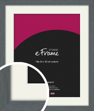Open Grain Mid Grey Picture Frame & Mount, 24x30cm (VRMP-1030-M-24x30cm)