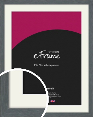 Open Grain Mid Grey Picture Frame & Mount, 30x40cm (VRMP-1030-M-30x40cm)