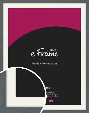 Open Grain Mid Grey Picture Frame & Mount, 45x60cm (VRMP-1030-M-45x60cm)