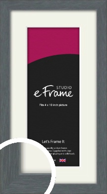 Open Grain Mid Grey Picture Frame & Mount, 4x10