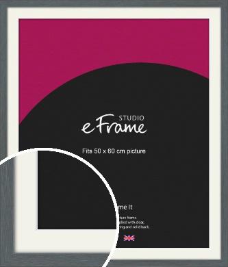 Open Grain Mid Grey Picture Frame & Mount, 50x60cm (VRMP-1030-M-50x60cm)