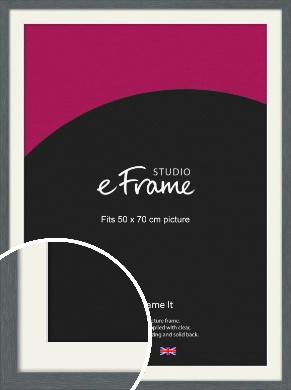 Open Grain Mid Grey Picture Frame & Mount, 50x70cm (VRMP-1030-M-50x70cm)