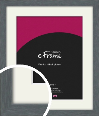 Open Grain Mid Grey Picture Frame & Mount, 8x10