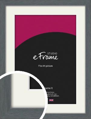 Open Grain Mid Grey Picture Frame & Mount, A4 (210x297mm) (VRMP-1030-M-A4)