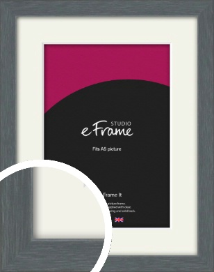 Open Grain Mid Grey Picture Frame & Mount, A5 (148x210mm) (VRMP-1030-M-A5)