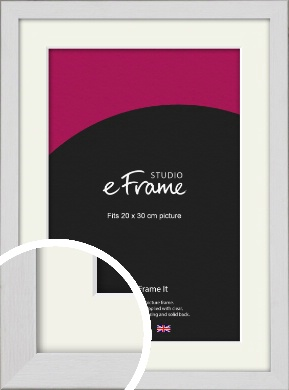 Minimalist Candlewick White Picture Frame & Mount, 20x30cm (8x12