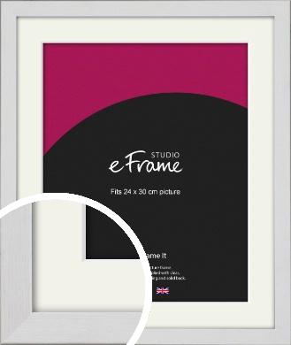 Minimalist Candlewick White Picture Frame & Mount, 24x30cm (VRMP-1031-M-24x30cm)