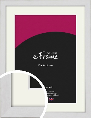 Minimalist Candlewick White Picture Frame & Mount, A4 (210x297mm) (VRMP-1031-M-A4)