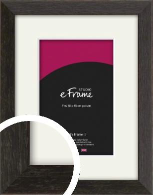 Original Open Grain Narrow Black Picture Frame & Mount, 10x15cm (4x6