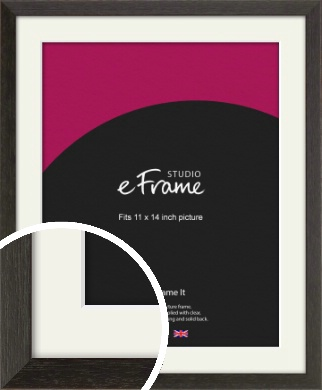 Original Open Grain Narrow Black Picture Frame & Mount, 11x14