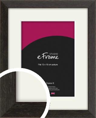 Original Open Grain Narrow Black Picture Frame & Mount, 13x18cm (5x7