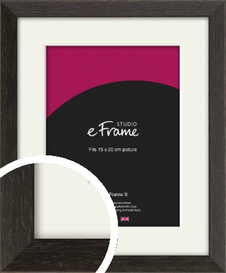 Original Open Grain Narrow Black Picture Frame & Mount, 15x20cm (6x8