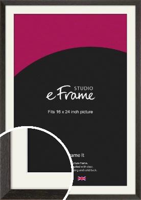 Original Open Grain Narrow Black Picture Frame & Mount, 16x24
