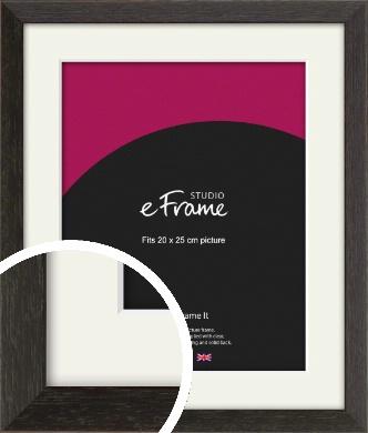 Original Open Grain Narrow Black Picture Frame & Mount, 20x25cm (8x10