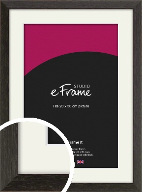 Original Open Grain Narrow Black Picture Frame & Mount, 20x30cm (8x12
