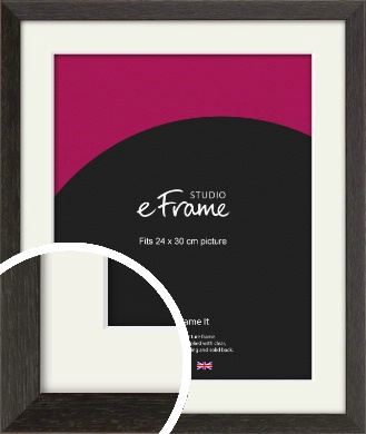 Original Open Grain Narrow Black Picture Frame & Mount, 24x30cm (VRMP-230-M-24x30cm)