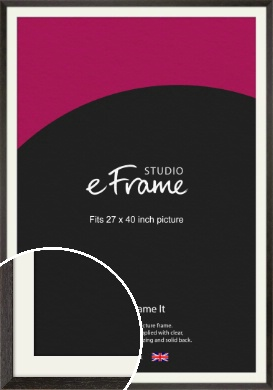 Original Open Grain Narrow Black Picture Frame & Mount, 27x40