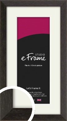 Original Open Grain Narrow Black Picture Frame & Mount, 4x10