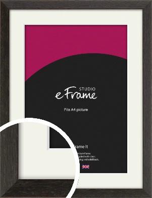 Original Open Grain Narrow Black Picture Frame & Mount, A4 (210x297mm) (VRMP-230-M-A4)