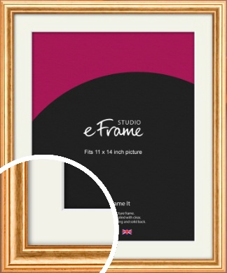 Slightly Textured Warm Gold Picture Frame & Mount, 11x14