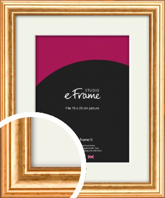Slightly Textured Warm Gold Picture Frame & Mount, 15x20cm (6x8