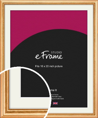 Slightly Textured Warm Gold Picture Frame & Mount, 16x20