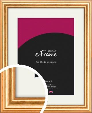 Slightly Textured Warm Gold Picture Frame & Mount, 18x24cm (VRMP-206-M-18x24cm)