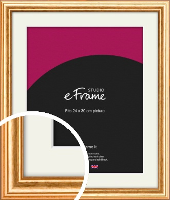 Slightly Textured Warm Gold Picture Frame & Mount, 24x30cm (VRMP-206-M-24x30cm)