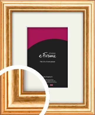 Slightly Textured Warm Gold Picture Frame & Mount, 3.5x5