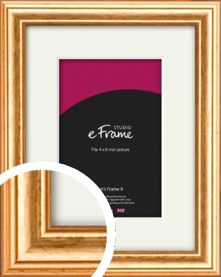 Slightly Textured Warm Gold Picture Frame & Mount, 4x6