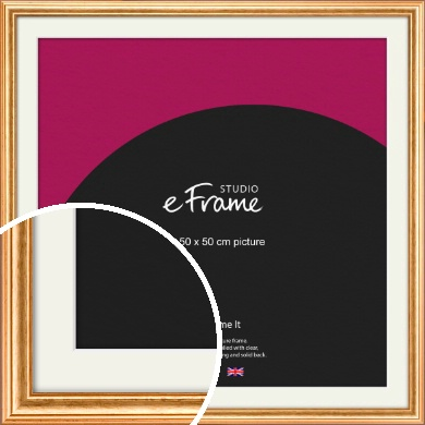 Slightly Textured Warm Gold Picture Frame & Mount, 50x50cm (VRMP-206-M-50x50cm)