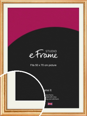 Slightly Textured Warm Gold Picture Frame & Mount, 50x70cm (VRMP-206-M-50x70cm)