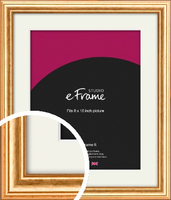 Slightly Textured Warm Gold Picture Frame & Mount, 8x10
