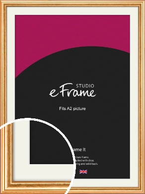 Slightly Textured Warm Gold Picture Frame & Mount, A2 (420x594mm) (VRMP-206-M-A2)