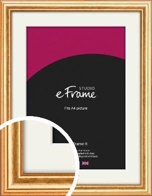 Slightly Textured Warm Gold Picture Frame & Mount, A4 (210x297mm) (VRMP-206-M-A4)