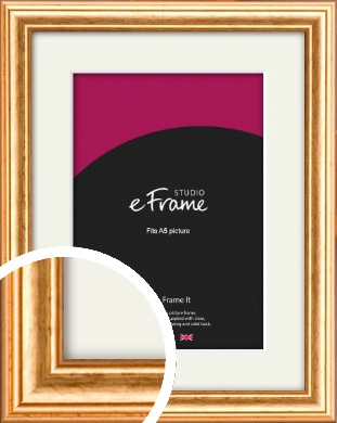 Slightly Textured Warm Gold Picture Frame & Mount, A5 (148x210mm) (VRMP-206-M-A5)