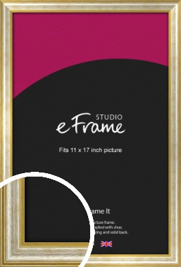 Worn Gold & Silver Picture Frame, 11x17