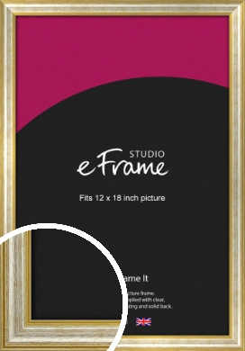Worn Gold & Silver Picture Frame, 12x18
