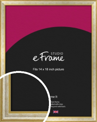 Worn Gold & Silver Picture Frame, 14x18