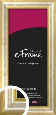 Worn Gold & Silver Picture Frame, 4x10