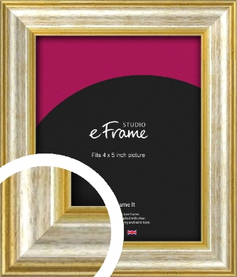 Worn Gold & Silver Picture Frame, 4x5