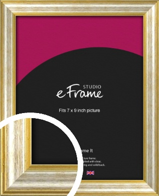 Worn Gold & Silver Picture Frame, 7x9