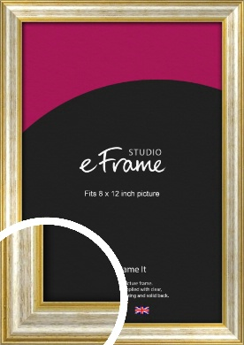Worn Gold & Silver Picture Frame, 8x12