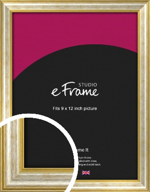 Worn Gold & Silver Picture Frame, 9x12