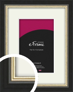 Gold Accent Black Picture Frame & Mount, 10x15cm (4x6