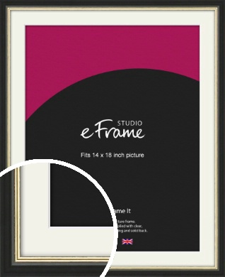 Gold Accent Black Picture Frame & Mount, 14x18