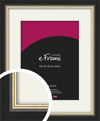 Gold Accent Black Picture Frame & Mount, 15x20cm (6x8