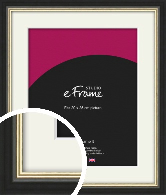Gold Accent Black Picture Frame & Mount, 20x25cm (8x10