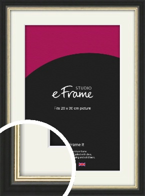 Gold Accent Black Picture Frame & Mount, 20x30cm (8x12