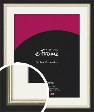 Gold Accent Black Picture Frame & Mount, 24x30cm (VRMP-1070-M-24x30cm)